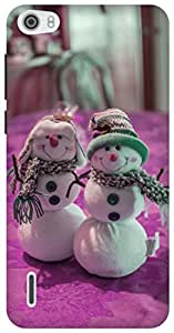 The Racoon Lean tiny snowman pink hard plastic printed back case for Huawei Honor 6