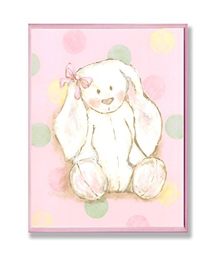 The Kids Room by Stupell Bunny with Polka Dot Background Rectangle Wall Plaque