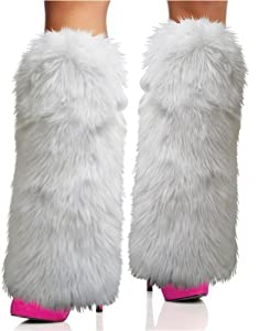 Rave Diva Costume White Sexy Furry Fuzzy Leg Warmers