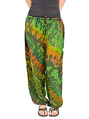 Orient Trail Men's Hippie Tie-dye Pajama Yoga Lounge Pants Small Medium Reggae Green