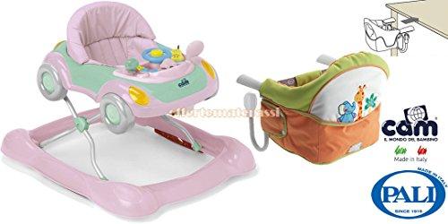 CAM Camminando rosa girello + Seggiolino Pali New Age Gigi & Lele da tavolo