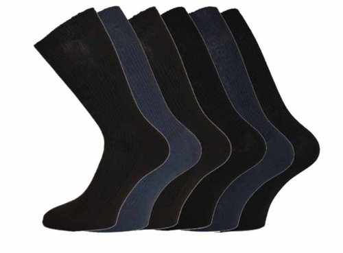 Mens Cotton Loose Wide Top Socks Size 11-13 Darks 6 Pack