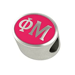 Phi Mu Enamel Sorority Bead Charm Fits Most European Style Bracelets. High Quality Bead in Stock for Fast Shipping