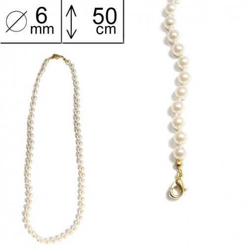SG Paris Necklace 50 Cm 6 mm Cream Pearl Ivoire Necklace Necklace Glass The Essential Women Pearl Addict The Essential Ball