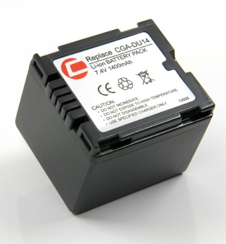 Lithium-Ionen Akku inkl. Gürteltasche, ersetzt Panasonic CGA-DU14 für NV-GS10 GS17 GS21 GS22 GS27 GS30 GS35 GS37 GS50 GS55 GS60 GS70 GS75 GS80 GIxus 145 150 155 265 GS140 GS150 GS180 GZ690 GS230 GS250 GS280 GS300 GS320 GS400 GS500