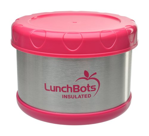 LunchBots Thermal 16-ounce Stainless Steel Insulated Food Container, Pink