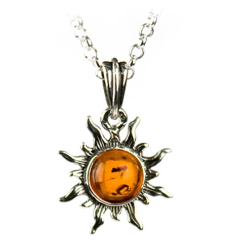 Certified Genuine Honey Amber and Sterling Silver Flaming Sun Pendant, 18