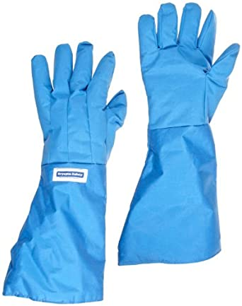 """National Safety Apparel G99CRBEELLGP Nylon Taslan and PTFE Elbow Waterproof Safety Glove, Cryogenic, 17"""" - 18"""" Length,Blue"""