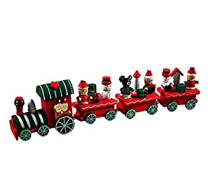 Koly 4 Pieces Wooden Christmas Xmas Train Toys Decoration Decor Gift