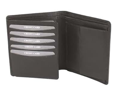 Portefeuille OTARIO, cuir véritable, noir 12,5x9,5cm
