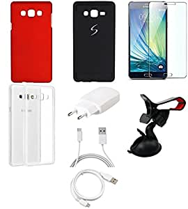 NIROSHA Tempered Glass Screen Guard Cover Case Charger USB Cable Mobile Holder car for Samsung Galaxy ON7 - Combo