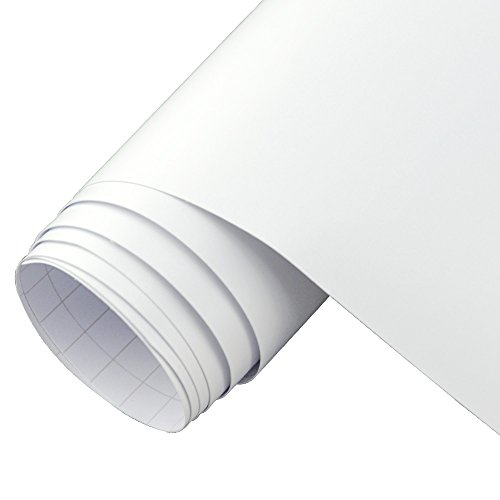 12''x10ft Matte White Repositionable Vinyl Roll Craft Self-adhesive Film for Cutting Plotters & Silhouettes (White Vinyl Rolls For Cutters compare prices)