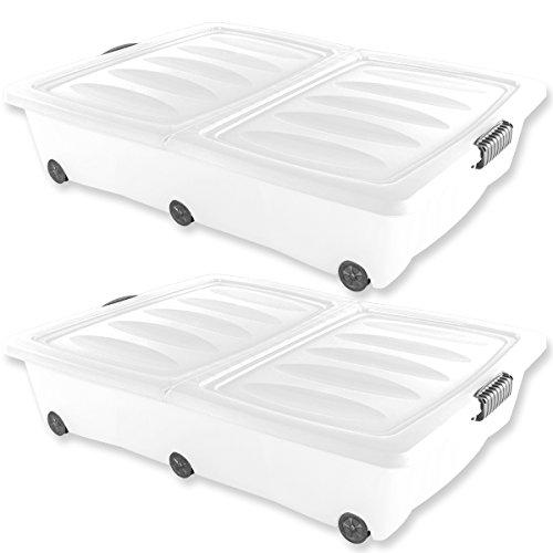 2-XXL-Unterbettkommoden-60-Liter-Volumen-in-Grn-Lila-Trkis-oder-Wei-mit-Rollen-Aufbewahrungsbox-Unterbettbox-Rollbox-2x-Wei