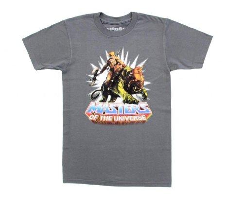 Men's He-Man Battle Cat Crew Adult Charcoal T-Shirt - S to XXXL