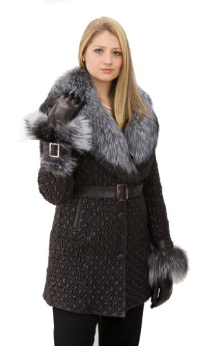 Special Lamb Leather Coat with Fox Chinchilla Fur
