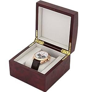 TSBOXBUR1 Single Watch Box 1 Extra Large Watch Burlwood Finish