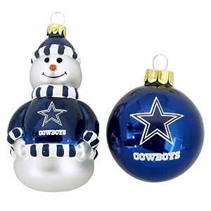 NFL Dallas Cowboys Snowman and Ball Mini Blown Glass Ornaments