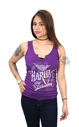 Harley-Davidson Womens Go With It Flaming B&S Notched Neck Purple Sleeveless Tank - LG