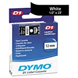 D1 Standard Tape Cartridge for Dymo Label Makers, 1/2in x 23ft, White on Black, Sold as One Each