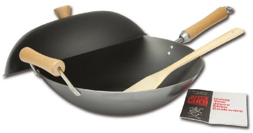 Joyce Chen 21-9972 Classic Series 4-Piece Carbon-Steel Wok Set, Charcoal