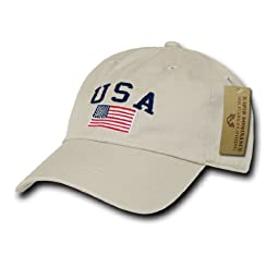 Rapid Dom USA Flag and Text Basic Style Polo Baseball Caps A03 Stone