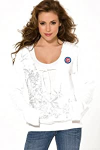 Chicago Cubs Women's Raw Edge V Hoodie w/Graphic - by Alyssa Milano
