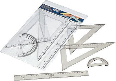 faibo 806 - Pencil Case with Ruler, Set Square, Triangle and Semicircle, 30 cm