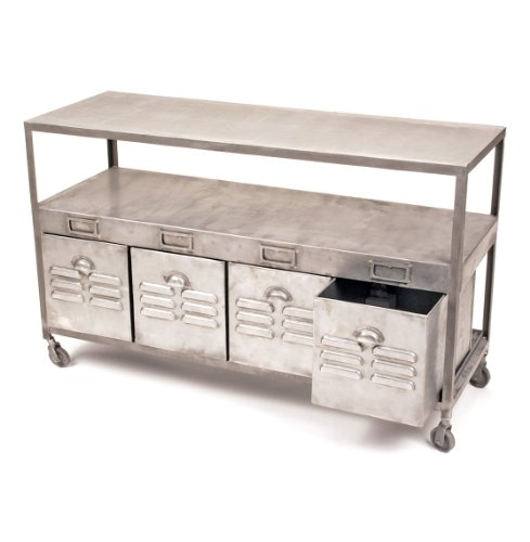Cheap Industrial Loft Mill House Raw Steel Console Table with Drawers (B006WBDQ4S)