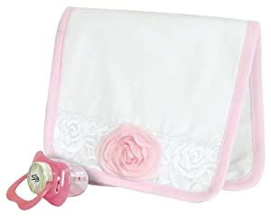 Stephan Baby Angels in Lace Shabby Rose Burp Pad and Pacifier Gift Set, White and Pink with Pink Organza Rosette