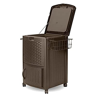 Suncast Resin Wicker Wheeled Cooler with Cabinet