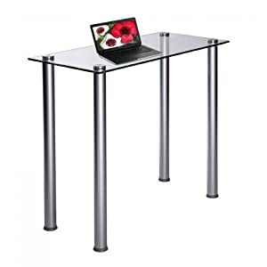 RTA Home and Office Clear Tempered Glass and Aluminum Laptop Desk in Silver