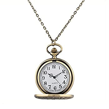 Mifine Antique Roman Pocket Watch Bronze Dial Open Faced Roman Numerals with Vintage Metal Rope