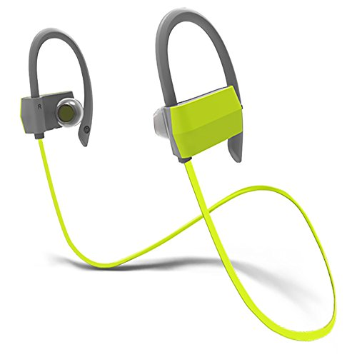 Kaleep G18 Noise Canceling Bluetooth Earhook Headphones with Mic&60 Days Warranty Wireless Sport Earbuds Headset Earclip Earphones In-ear for Running Workout Jogging Driving-Green