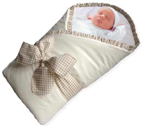Baby Wrap - Swaddle - Baby Blanket - By Bundlebee - Built In Removable Cushion For Neck And Back Support - 100% High Quality Cotton - Feather Light - Hypoallergenic - Beautiful Packaging And Bow Included - Newborns 0-4 Months - Cream