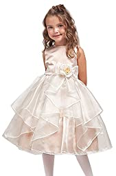 KID Collection Girls Ivory/taupe Flower Girl Pageant Dress Size 2