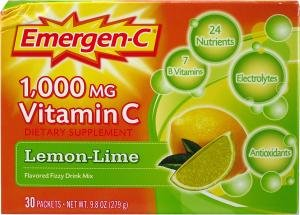 Emergen C 1,000mg Vitamin C Lemon and Lime (30 sachets, 24 nutrients)