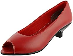 Richiee Girls Red Synthetic Heel Bellies (1506-104Red_40, Size - 40)