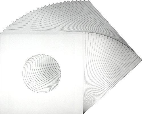 25-White-Paper-Innersleeves-With-a-Hole-for-7-45rpm-Vinyl-Records-07IW-7-18-x-7