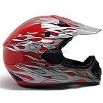 TMS Red Flame Dirtbike ATV Motocross Helmet Mx Off-road DOT (Medium)