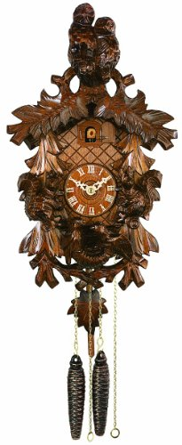 River City Clocks 21-13 One Day Cuckoo Clock with Hand-Carved Squirrels, Bird Nest, And Owls, 13-Inch Tall