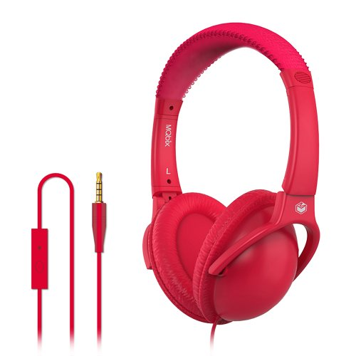 Mqbix Mqht560Red Ear Foam Palette High Performance Headphones With Mic, Ruby Red