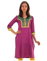 ESTYLe Vivid Viola Silk Cotton Kurta With Piping Work