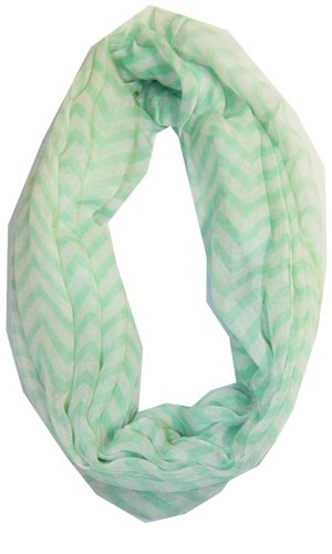 Soft Chevron Sheer Infinity Scarf in Contrasting Colors,One Size,Mint/White