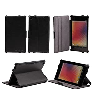 AceAbove Google The New Nexus 7 FHD 2nd Gen Case 2 - Slim Folio Case / Cover with Built-in Stand for Google Nexus 2 7.0 inch 2013 Generation Android 4.3 Table (Three Year Warranty) (Black) - Support Auto Wake / Sleep Feature