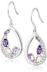Sterling Silver Tonal Amethyst and White Topaz Dangle Earrings
