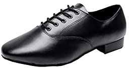 Abby AQ-9013 Mens Modern JazzLace-up Round-toe Leather Dance-shoes Black US Size12
