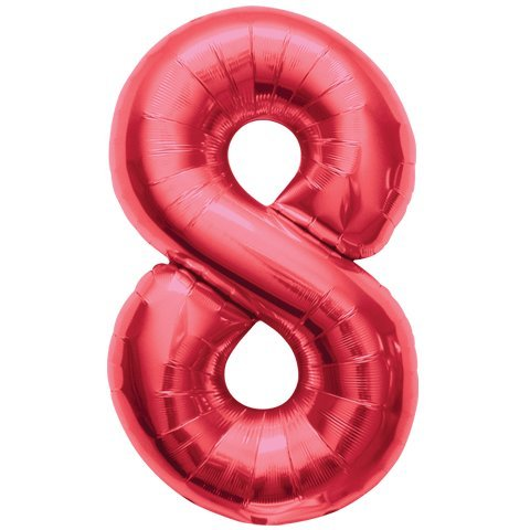 "1 X 34"" Red Number Eight Balloons"