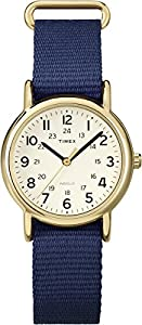 Timex Women's Quartz Watch with Beige Dial Analogue Display and Blue Nylon Strap T2P475