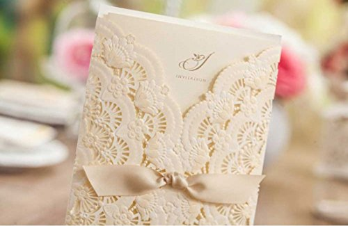 WISHMADE Laser Cut Invitations Cards Kit Beige Printable 50 Count for Wedding Birthday Bridal Shower with Envelopes Seals 1