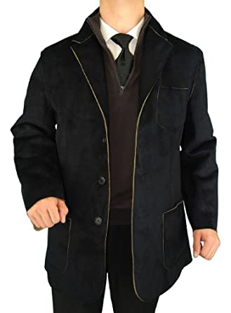 Executive 3-button Sport Coat Microfiber Suede Feel Leather Look Patch Pockets Modern Blazer Sportcoat Black (Small)